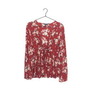 American Eagle Tie Front Floral Long Sleeve Top M